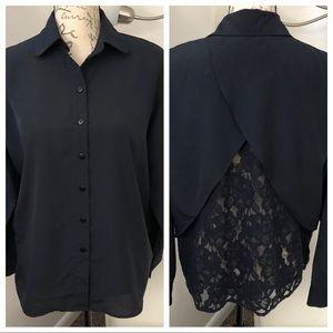ASOS Lace Back Button Down Long Sleeve Blouse Top